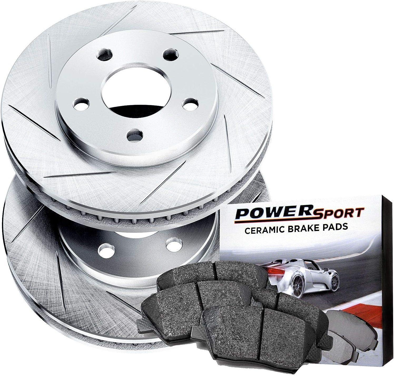 Power Sport Slotted Brake Denver Mall Rotors -817 High order Kit Ceramic and Pads