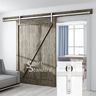 SMARTSTANDARD 10FT Heavy Duty Sliding Barn Door Hardware Kit, Double Rail, Stainless Steel, Super Smoothly and Quietly, Simple and Easy to Install, Fit 60