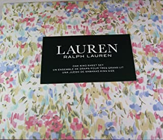 Ralph Lauren Pink Watercolor Abstract Floral Sheet Set Set 100% Cotton (KING)