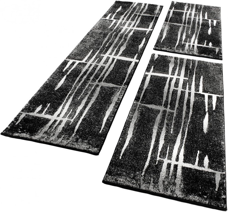 Paco Home Bettumrandung Läufer Teppich Teppich Teppich Meliert Design Grau Schwarz Weiss Läuferset 3 TLG, Grösse 2mal 70x140 1mal 70x250 B00LOP3CZ0 9a0378