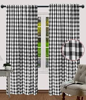 Gingham Check Curtains, Window treatment Panels, Décor panel, Nursery curtains, Farmhouse Curtains, Kitchen Curtains, Bathroom Curtains, Living room Curtains-50x84 Inch -Black White-Set of 2 Panels