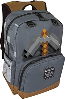 JINX Minecraft Pickaxe Adventure Kids School Backpack, Dark Grey, 17