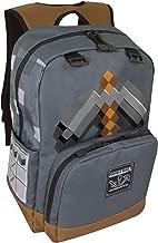 JINX Minecraft Pickaxe Adventure Kids School Backpack, Dark Grey, 17