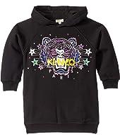 Kenzo Kids - Hooded Jumper Dress w/ Purple Tiger and Stars (Toddler/Little Kids)