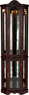 """Home Decorators Collection Vitric Lighted Curio, 70"""" Hx21 Wx16 D, Mahogany"""