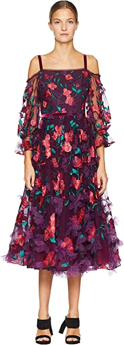 Cold Shoulder Floral Tea Length Gown