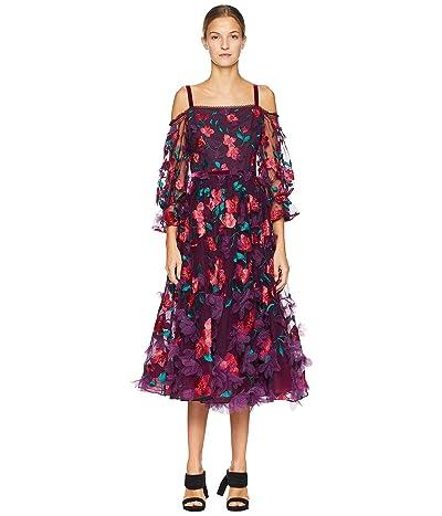 Marchesa Notte Cold Shoulder Floral Tea Length Gown (Wine) Women
