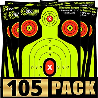EasyShot Silhouette Shooting Targets 105-Pack 18 X 12 inch. Shots are Easy to See with The Neon Yellow & Red Colors. Thick Paper Sheets for Pistols, Rifles, BB Guns, Airsoft and More.