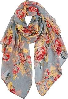 GERINLY Lightweight Scarves Fashion Flowers Print Women Cotton Wrap Scarf