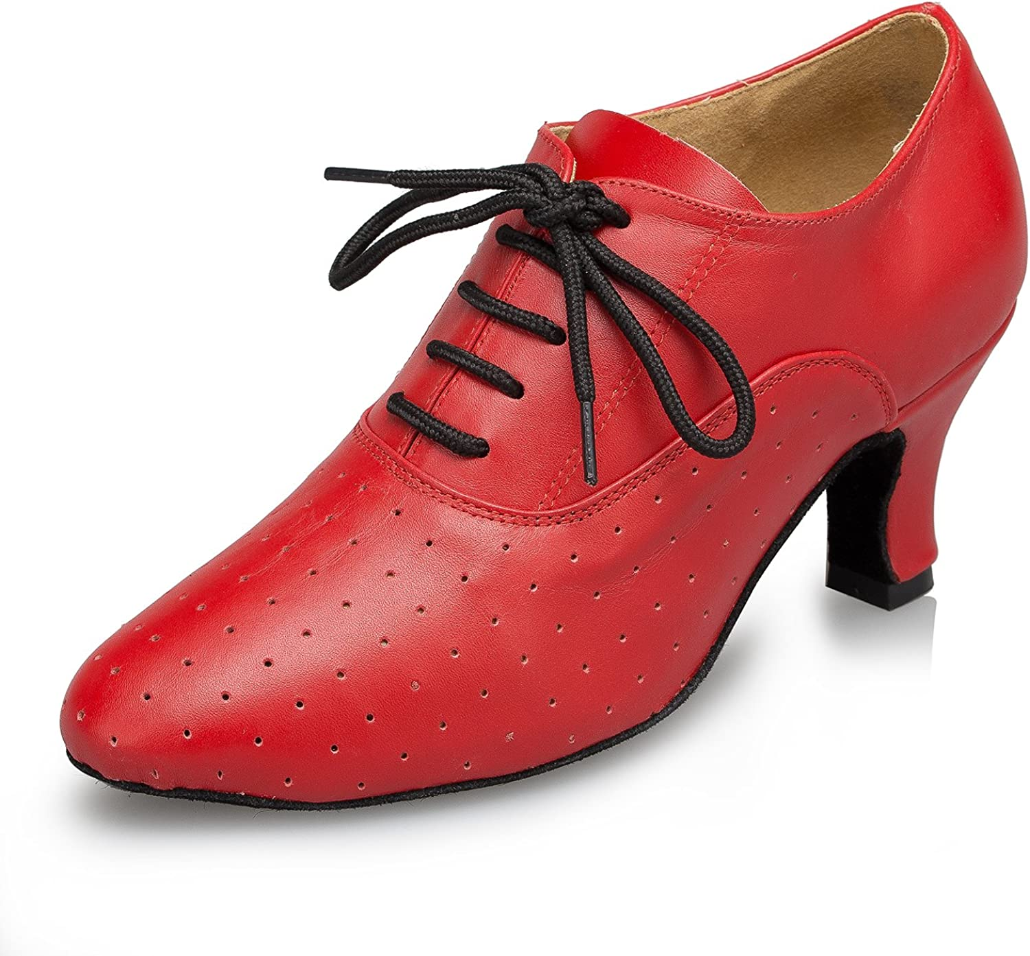 TDA Women's Lace-up Leather Latin Dance shoes Tango Ballroom Salsa Breathable Perforated shoes
