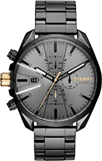 Diesel Men's Ms9 Chrono Quartz Watch with Stainless-Steel Strap, Black, 10 (Model: DZ4474)