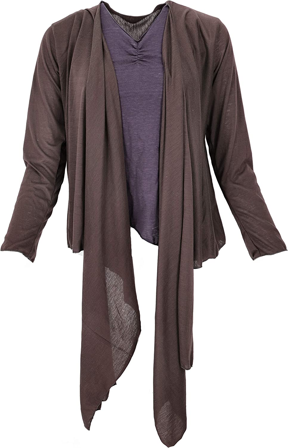 Guru-Shop Wandelbare Wickeljacke, Cardigan, Damen, Braun, Synthetisch, Size:38, Jacken, Mäntel & Ponchos Alternative Bekleidung Coffee