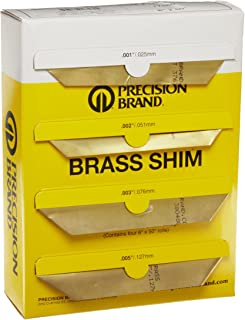 """260 Brass Sheet, Unpolished (Mill) Finish, Half Hard Temper, 0.001-0.015"""" Thickness, 6"""" Width, 50"""" Length (Pack of 4)"""