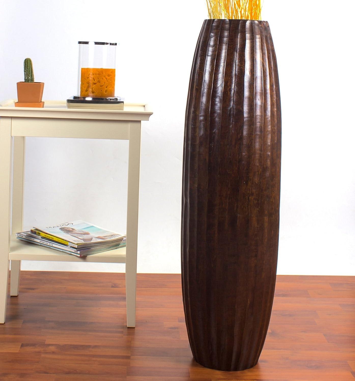 Leewadee Große Bodenvase für Dekozweige hohe Standvase Design Holzvase 90 cm, Mangoholz, braun B004UA3C24