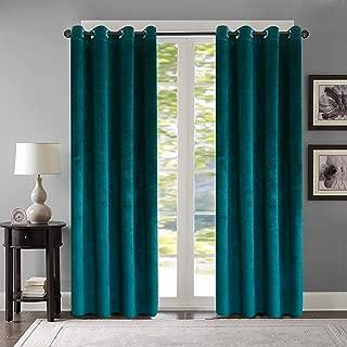 Roslynwood Super Soft Luxury Velvet Set of 2 Peacock Blue Blackout Velvet Energy Efficient Grommet Curtain Panel Drapes Ginger 52Wx96L(2 Panels)