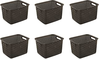 brown rattan storage baskets