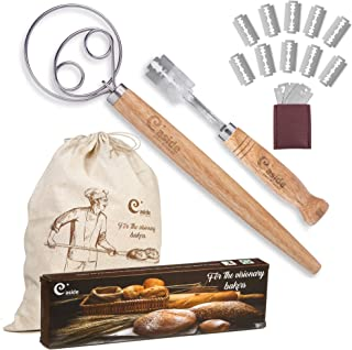 Bread Lame and Danish Whisk Set - Premium Gift Stainless Steel Bread Scoring Tool with Leather Protective Cover 10 Replaceable Razor Blades Danish Dough Hook and Linen Bag for Artisan Homemade Bread