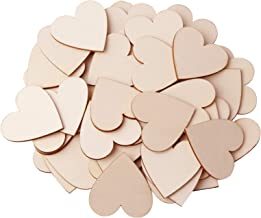 """UTOPER 100pcs Wooden Love Hearts Slices 1.97"""" Blank Name Tags (No Hole) Love Heart Shape Unfinished Wood Cutout Labels Art..."""
