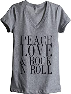 Thread Tank Peace Love and Rock 'N Roll Women's Fashion Relaxed V-Neck T-Shirt Tee