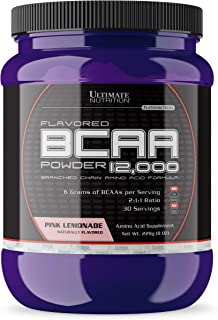 Ultimate Nutrition Flavored BCAA Powder - Caffeine Free with 3g Leucine 1.5g Valine 1.5g Isoleucine - Post Workout Amino Acid Supplement, Pink Lemonade, 30 Servings