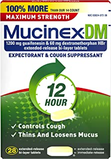 Mucinex DM Maximum Strength 12-Hour Expectorant and Cough Suppressant Tablets, 28 Count