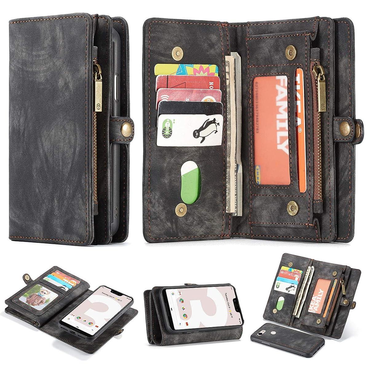 Google Pixel 3A XL Leather Wallet Zipper Purse Detachable Card Slots Holder Flip Case Magnetic Wrist Strap Handle Shockproof Cover Pocket Wallet Handbag for Google Pixel 3A XL (Black, Pixel 3A XL)