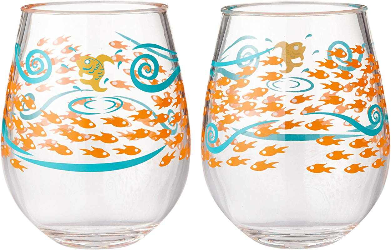 Enesco Designs By Lolita Fish Out Of Water Acrylic Stemless Wine Glasses Set Of 2 17 Oz