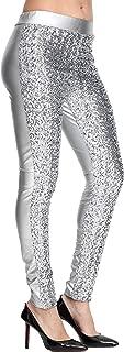 Lotsyle Women's Rose Shiny Sequins Faux Leather Leggings Pants Stretch Long Trousers