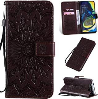 Pressed Printing Sunflower Pattern Horizontal Flip PU Leather Case for Galaxy A80, with Holder & Card Slots & Wallet & Lanyard New Hopezs (Color : Brown)