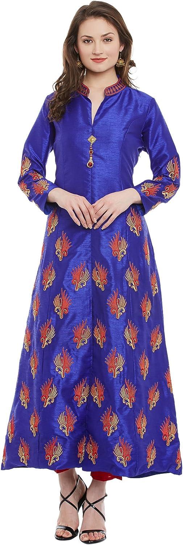 Indi Dori Women's Dupion Silk bluee Embroidered ALine Kurta with Embroidered Sleeve