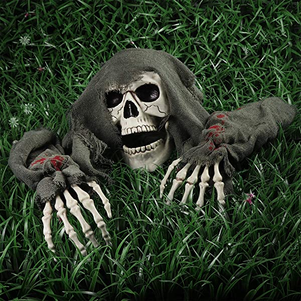 Unomor Halloween Outdoor Decorations Skeleton Skull Stakes Decorations Ground Breaker Skeleton Best Halloween Decorations