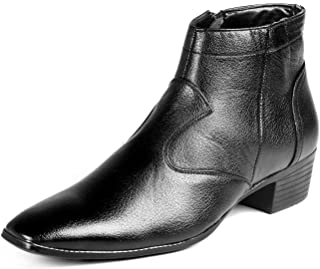 BXXY Men's Black Faux Leather Height Increasing Boots