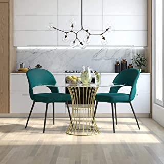 CosmoLiving by Cosmopolitan CosmoLiving Alexi Upholstered Dining, Emerald Green Velvet Chair
