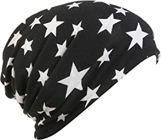 SUREPOCH Print Turban Cap Ruffle Slouchy Beanie Chemo Hats for Women