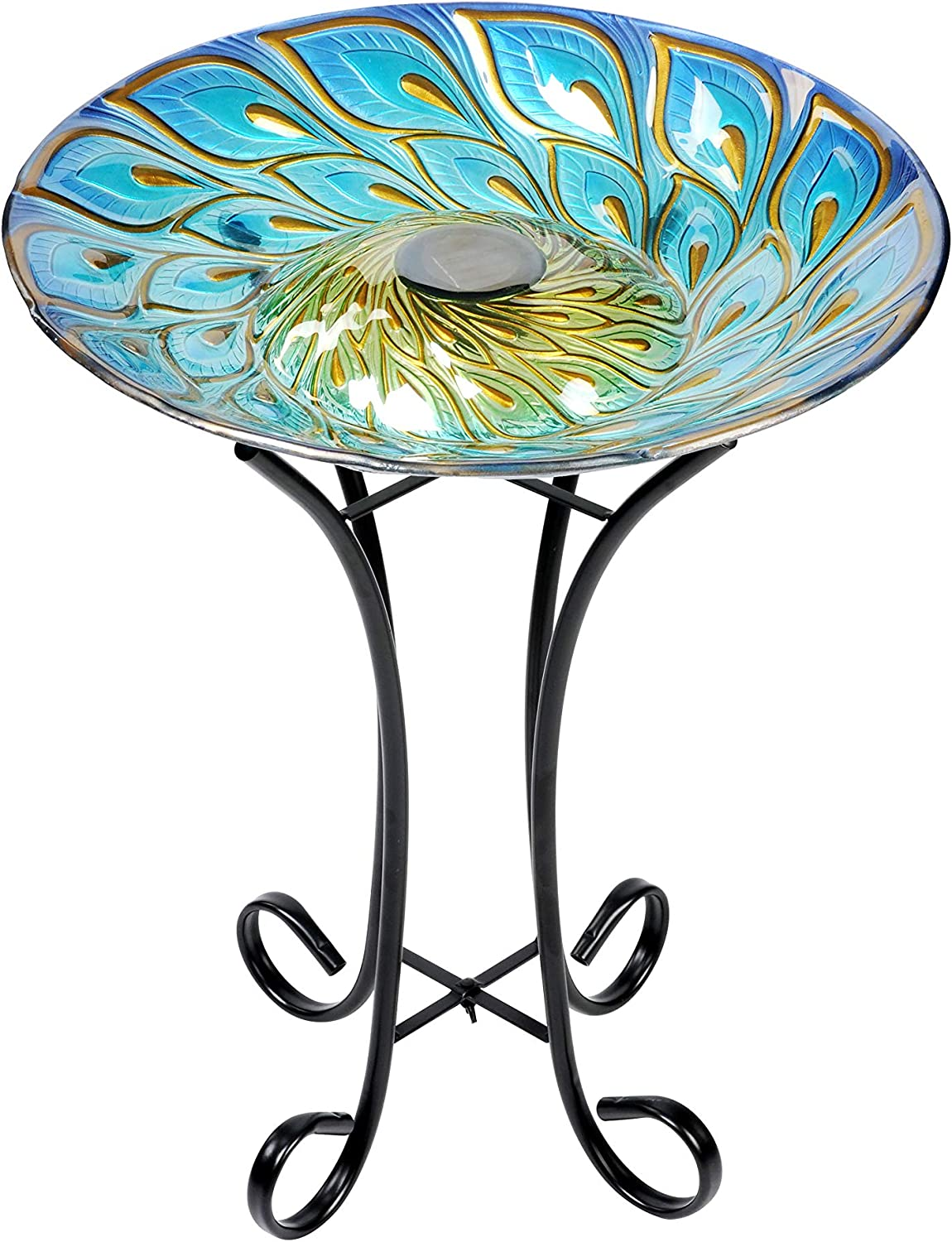 Hi-Line Gift Cheap mail order sales service 78415-E Solar Glass Bath Peacock with Feathers Bird