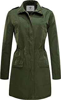 WenVen Women's Cotton Lapel Thigh-Length Trench Coat Anorak Jacket with Drawstring