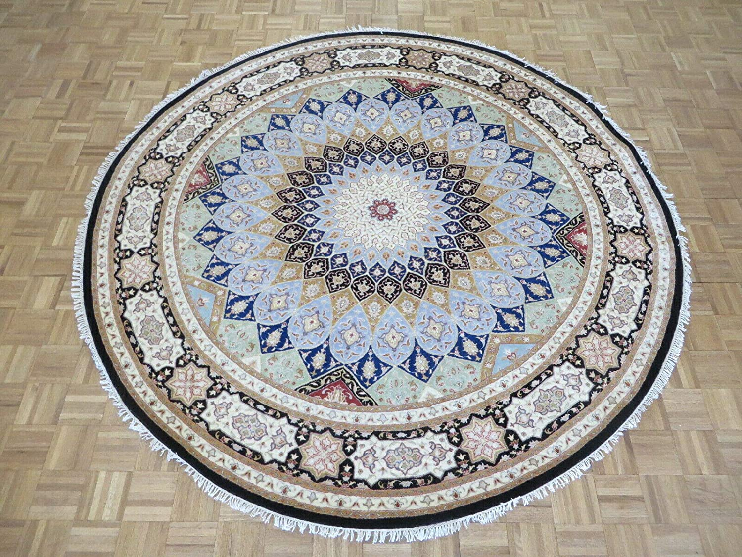 8'4 x Round Hand Same day shipping Knotted Fine Challenge the lowest price of Japan ☆ Nain Gombad With Silk Oriental