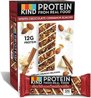 KIND Protein Bars, White Chocolate Cinnamon Almond, Gluten Free, 12g Protein,1.76 Ounce (12 Count)