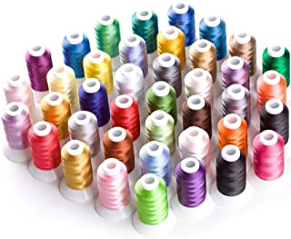 Simthread 40 Brother Colors 40 Weight Polyester Embroidery Machine Thread Kit 550Y(500M) for Brother Babylock Janome Singe...