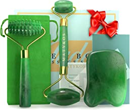 3 in 1 Jade Roller for Face and Gua Sha Set - Helps Reducing Drainage Puffiness Wrinkles Authentic Jade Face Massager Kit ...