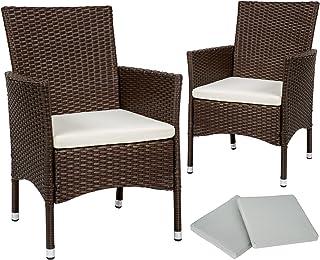TecTake 2 x Ratán sintético silla de jardín set con cojines + 2 Set de fundas intercambiables + tornillos de acero inoxidable - disponible en diferentes colores - (Marrón mixto | No. 402123)