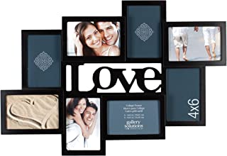 Gallery Solutions Love 8 Opening Dimensional Collage Wall Hanging Picture Frame, 4x6