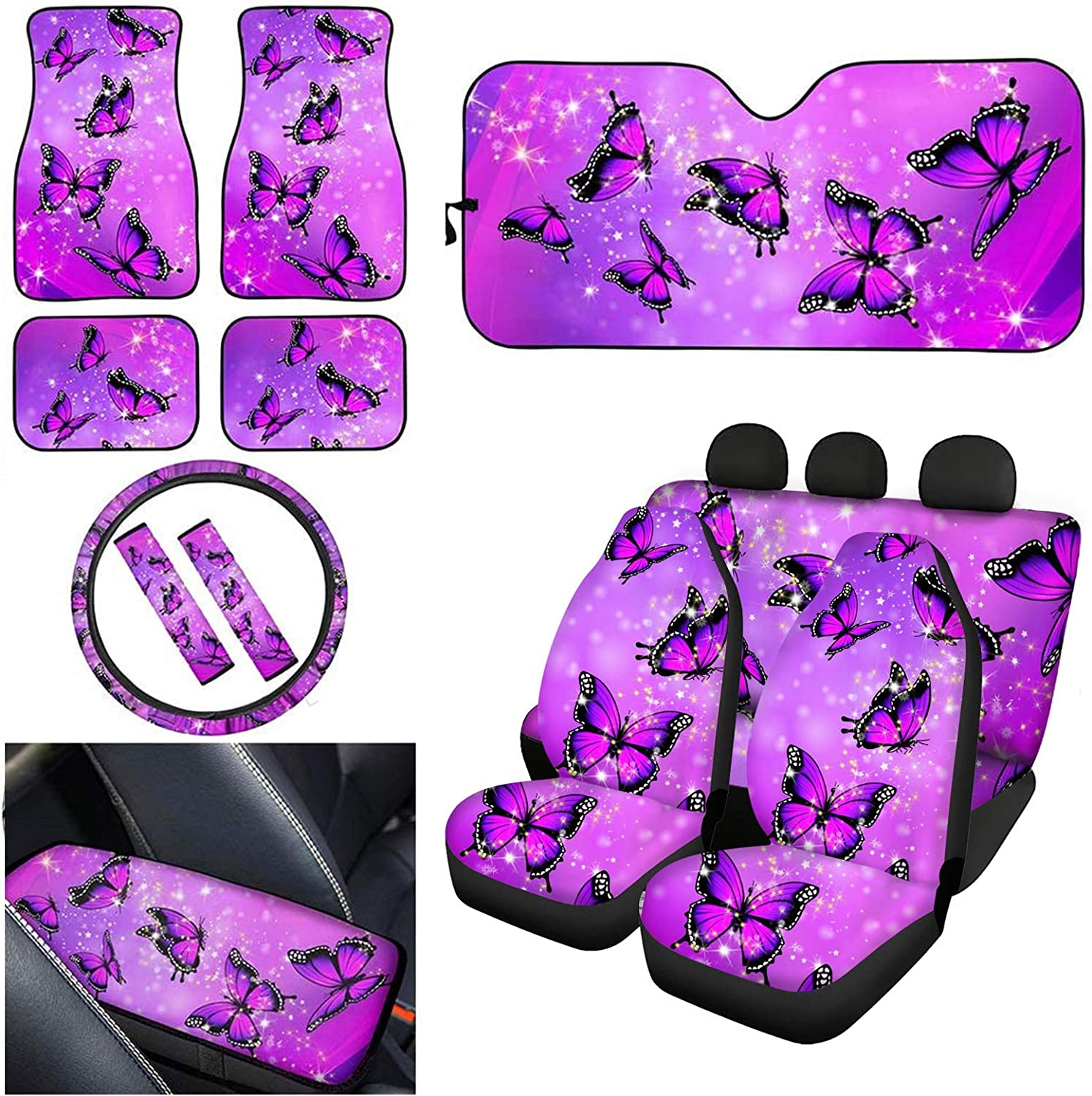 Coloranimal Purple Butterfly Seat Cover Accesso Car Interior for Nippon regular agency Fashion