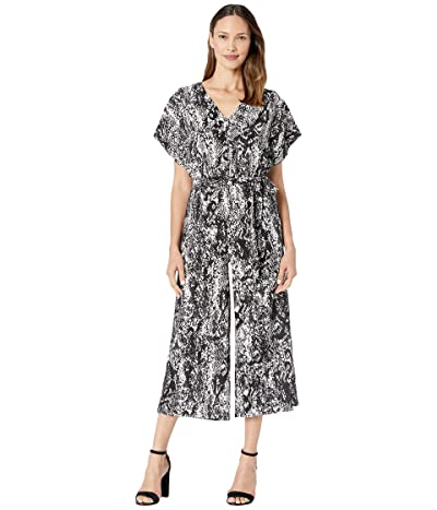 Donna Morgan Cropped Snake Skin Print Wide Leg Jumpsuit (Black/White) Women