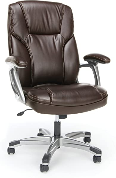 Essentials High Back Leather Executive Office Computer Chair With Arms Ergonomic Swivel Chair ESS 6030 BRN