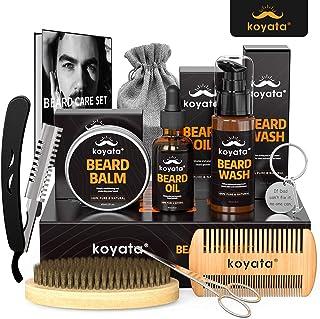 KOYATA 10 In 1 Beard Grooming Kit For Beard Maintenance, Beard & Mustache Moisturizing& Conditioning Kit Contains Beard Balm, Wooden Beard Comb, Beard Scissors, Beard Shampoo/Wash, Beard Gift For Men