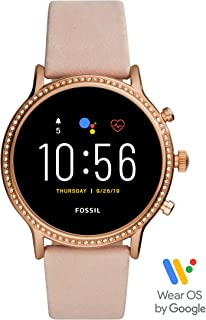 fossil smartwatch rose gold leather band