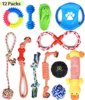 Dog Rope Toys for Aggressive Chewers, 12 Pc Set, Natural Cotton Chew Bones, Treat Balls, and Rings, Interactive Rope Chew Toys, Squeaky Toys, Fetch Toys, Small Puppies to Medium and Large Breeds ( Assorted color)