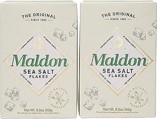 Maldon Salt, Sea Salt Flakes, 8.5 oz (240 g), 2 Count, Kosher, Natural, Handcrafted, Gourmet, Pyramid Crystals