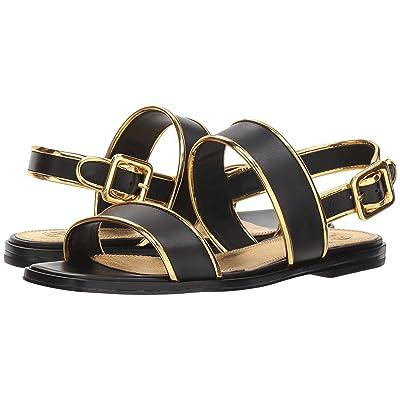 Tory Burch Delaney Flat Sandal (Perfect Black/Gold) Women